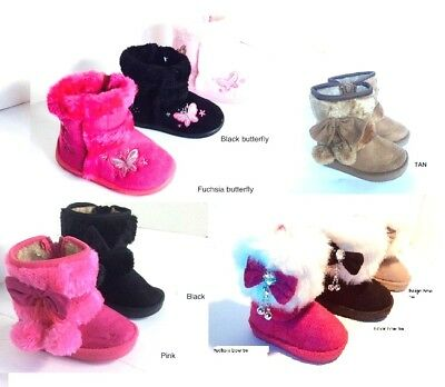 Warm Baby Girl Toddler Infant Winter Boots Fur Faux Shoes Zipper Side Colors