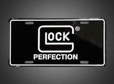 Glock Perfection License Plate Black With White Lettering