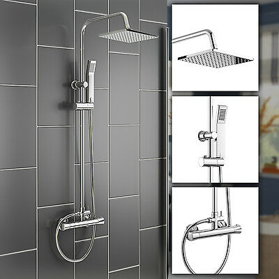 Thermostatic Bathroom Rainfall Shower Set Chrome Mixer with Hand Spray