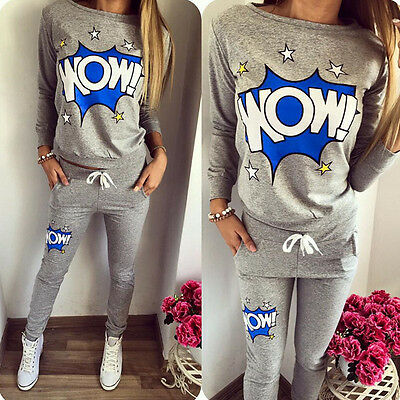 2Pcs Lady Women Tracksuit Hoodies Sweatshirt Pants Set Sport Wear Casual Suit UK