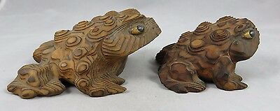 (2) Vintage Horny Frog Toad Figurines - Hand Carved Cryptomeria Wood - Japan
