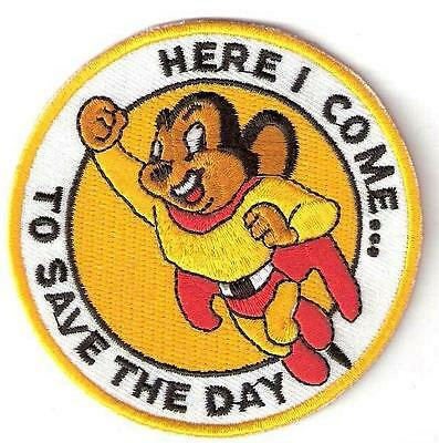 MIGHTY MOUSE ☆ CARTOON Super Hero ~ Iron On Patch / Badge Costume Fancy dress up