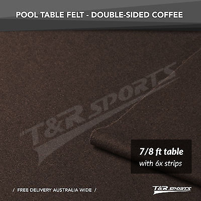 Coffee Double-sided Wool Pool Table Top Cloth Felt + 6x Strips for 7''/8''