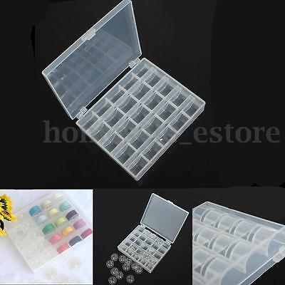 Plastic 25 Spools Empty Bobbins Sewing Machine Bobbin Case Organizer Storage Box