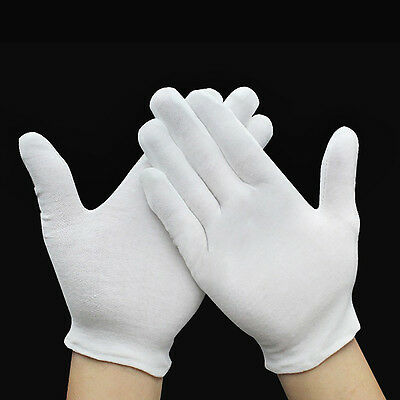 12 Pairs Inspection Cotton Lisle Work Gloves Coin Jewelry Lightweight White Hot