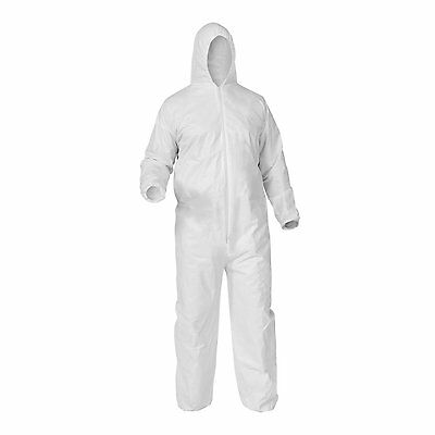 Case of 25 Disposable WHITE Microporous Coveralls Hood Zip 3XL - Shield Safety