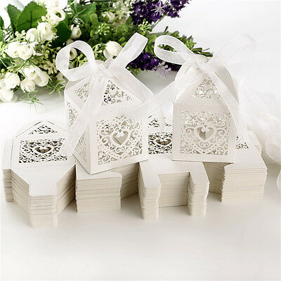 10/25/50 Love Heart Laser Cut Candy Gift Boxes With Ribbon Wedding Party Favor