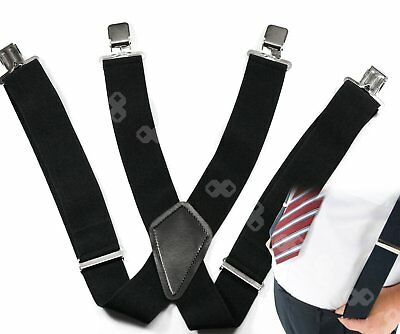 4 Colors Mens 50mm Wide Braces Plain Heavy Duty Suspender Elastic Adjustable