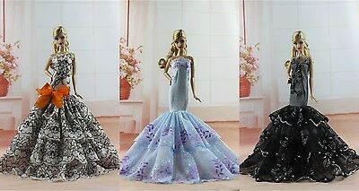 3 PCS Royalty Mermaid Dress Party Dress/Wedding Clothes/Gown For Barbie Doll