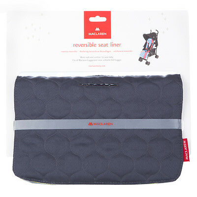 Maclaren Reversible Baby Pushchair Liner Seat Cover Washable Grey/Blue