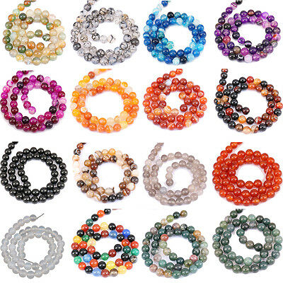 """1 String 15"""" Nature Agate Stone Round Loose Spacer Bead Jewelry Making 4-12mm"""
