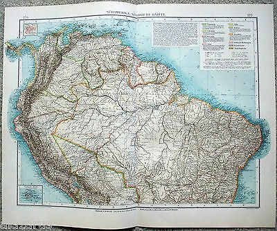 Large Original 1903 German Map of Northern South America by Velhagen & Klasing