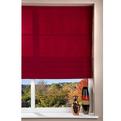 Fabric Roman Shade Window Blind - Cord - Patterned Red - 80 x 160cm