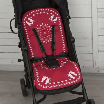 Maclaren Baby Pushchair Reversible Seat Liner Cover  Scarlet Red/Denim