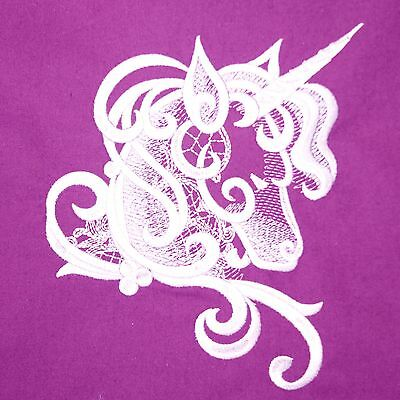 UNICORN Fabric Purple Embroidered Quilt Block Cushion Panel Lilac 100% Cotton