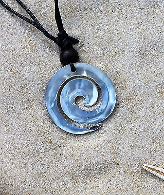 5 NEW SWIRL SHELL PENDANT NECKLACES WOODEN BEAD SURFER WHOLESALE PRICE / n435