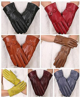Ladies Women Soft 100% Leather Winter Gloves With Bow Sheepskin fleece lined