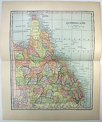 Original 1903 Dated Map of Queensland, Australia by Dodd Mead & Company