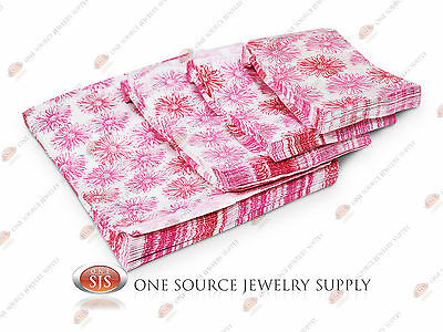 Lots of 100 Pink Flower Merchandise Bags Gift Bags Store Bags Paper Bags