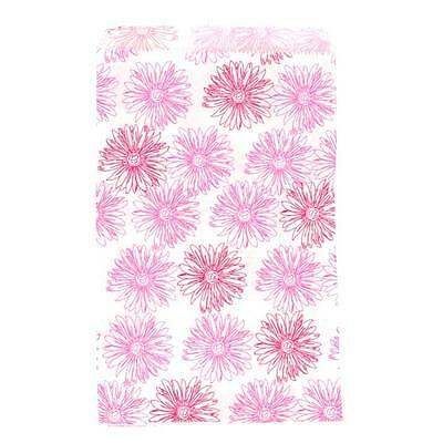 """100 Pink Flower Paper Bags Gift Bags Merchandise Bags  6""""x 9"""""""