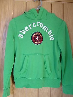 Kids Abercrombie & Fitch Green Fleece Hoodie Size L 10 - 12 years Girls (Ref P)