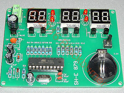 1 Bausatz 6bit LED Quartz Digital Uhr Clock Kit- 89C2051, 6-12V, DIY, 90x60mm