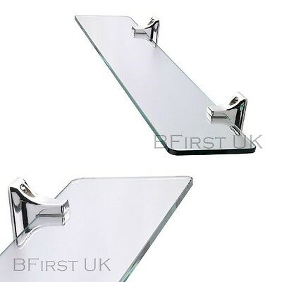 Bathroom Kitchen Floating Glass Shelf Storage Unit Chrome Wall Mounted Display