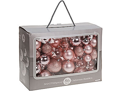 86 Pink Assorted Shatterproof Christmas Baubles Glitter Xmas Tree Decorations