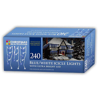 Christmas Workshop 240 Blue White LED Icicle Lights Indoor Outdoor 5.64m