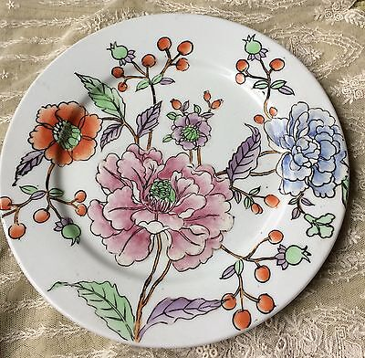 Antique Chinese Hand Painted Peonies Porcelain Plate Republic 民國Period 大凊乾隆款