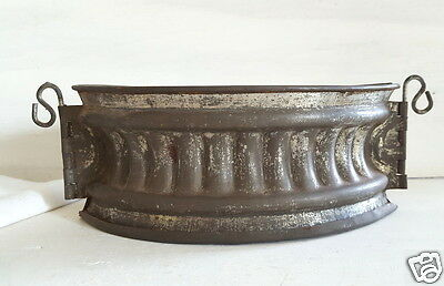 Antique French Metal Pie Crust Mold Mould With Hinges & Base