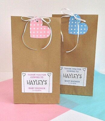 12 x Personalised Baby Shower TREAT Gift Favour Vintage Paper Bags Brown Unisex