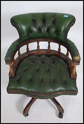 20th century green Leather Chesterfield deep button back swivel mahogany framed