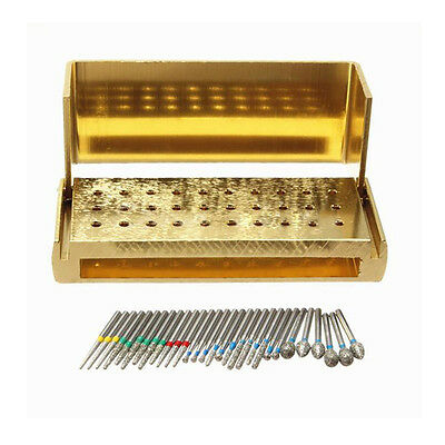 30Ps Dental Diamond Burs Drill + Disinfection Block High Speed Handpieces Holder