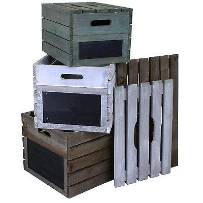 Wooden Crate Vintage Rustic Style Hamper Fruit Crates Storage Box Slatted Lids