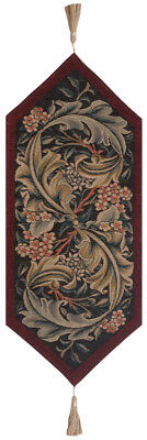 William Morris Red European Woven Tapestry Lined Table Runner Mat Home Decor