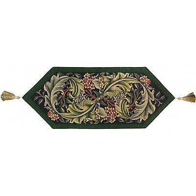 William Morris Green French Fleur Woven Tapestry Table Runner With End Tassels