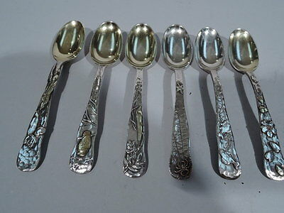 Tiffany Spoons - Antique Japonesque - American Sterling Silver & Mixed Metal