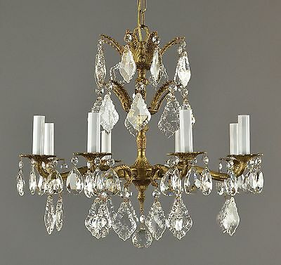Spanish Brass & Crystal Chandelier c1950 Vintage Antique Gold French Style Ornat