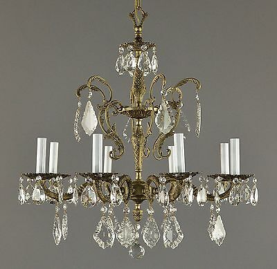 Spanish Brass & Crystal Chandelier c1950 Vintage Antique Gold French Style • CAD $604.01