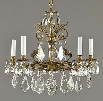 Spanish Brass & Crystal Chandelier c1950 Vintage Antique Gold French Style