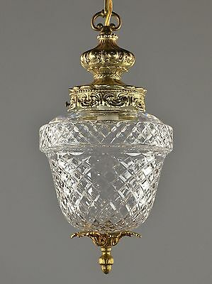 Czechoslovakian Crystal & Brass Lantern Chandelier c1950 Gold Glass Ornate