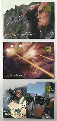 """1995 Star Trek: Phase One DIE-CUT TECHNOLOGY """"Complete Set"""" of 3 Cards (D1-D3)"""
