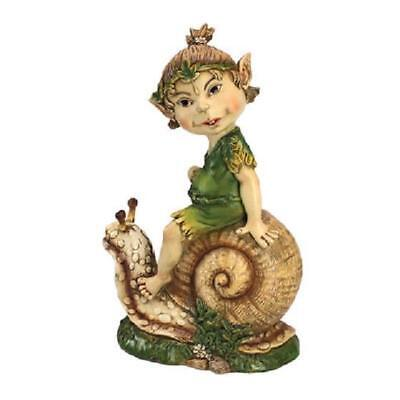 "Design Toscano ""Pixie Pete Elfin Gnome on Snail"" Garden Statue Ornament"