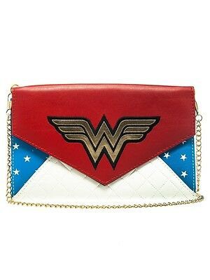 DC Comics Red & Blue Wonder Woman Envelope Wallet Clutch with Chain