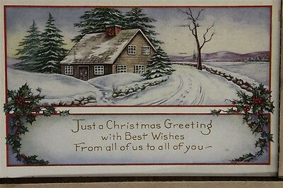 """ANTIQUE 1910's CHRISTMAS POSTCARD """"Whitney Made Wintry Home & Road"""" Posted"""