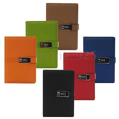 A5 PU Leather Cover Notebook Travel Journal with Code Lock Secret Diary 110 Page