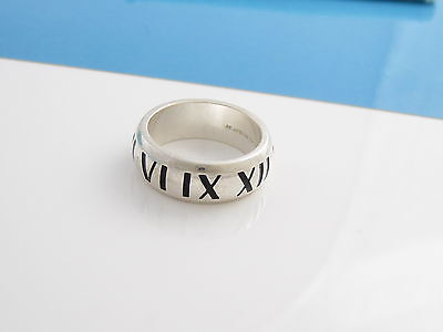 Tiffany & Co RARE Silver Black Enamel Atlas Roman Numeral Ring Size 5!