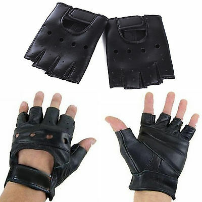 NT Mens Leather Gloves Half Finger Fingerless Stage Sports Cycling Driving New