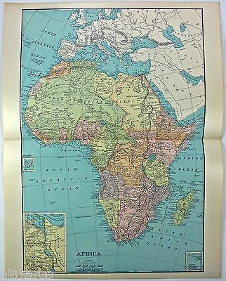 Original 1902 Dated Map of Colonial Africa by Rand McNally